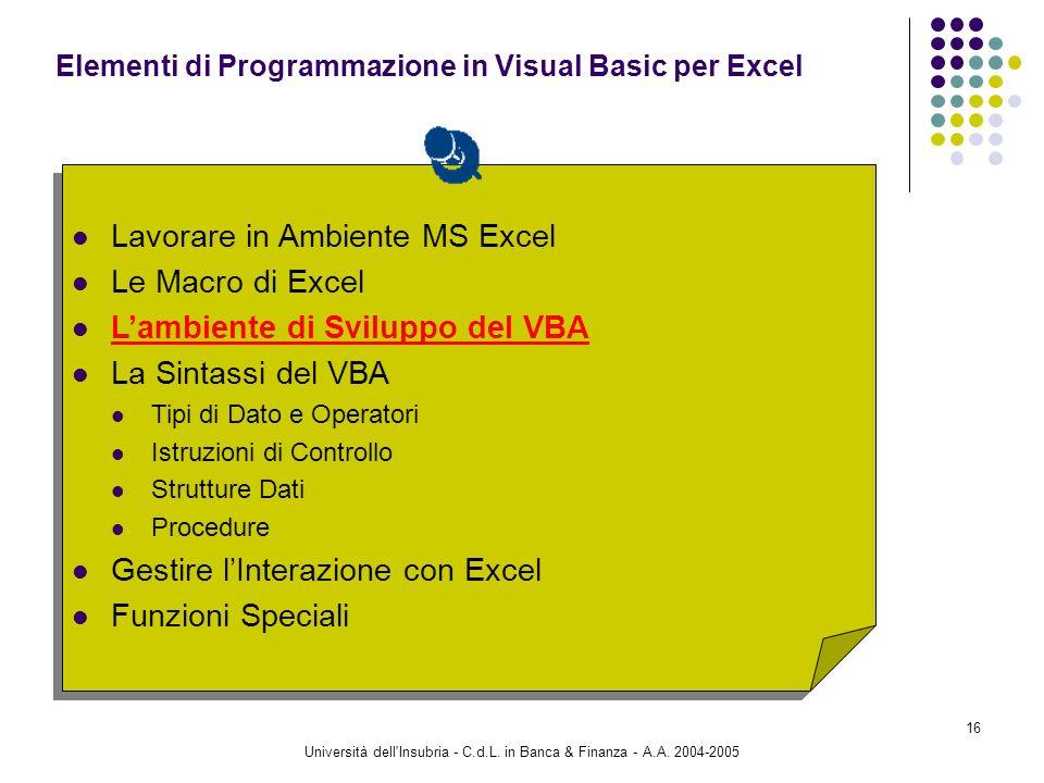 Università dell'Insubria - C.d.L. in Banca & Finanza - A.A. 2004-2005 16 Lavorare in Ambiente MS Excel Le Macro di Excel Lambiente di Sviluppo del VBA