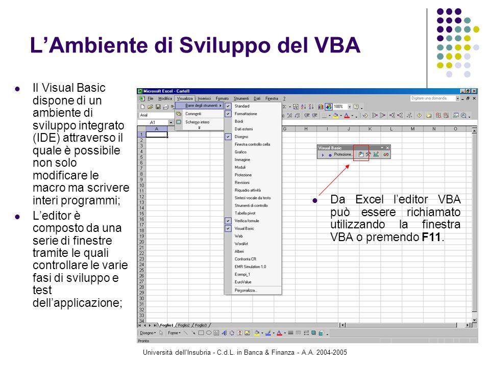 Università dell'Insubria - C.d.L. in Banca & Finanza - A.A. 2004-2005 17 LAmbiente di Sviluppo del VBA Il Visual Basic dispone di un ambiente di svilu
