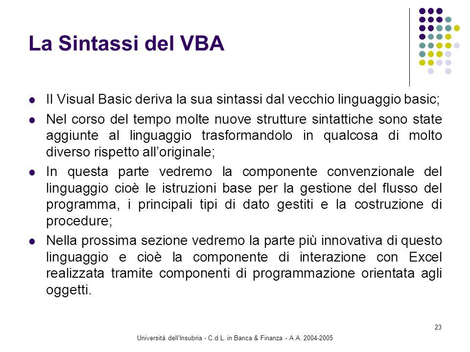 Università dell'Insubria - C.d.L. in Banca & Finanza - A.A. 2004-2005 23 La Sintassi del VBA Il Visual Basic deriva la sua sintassi dal vecchio lingua