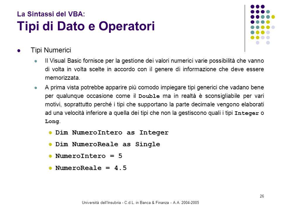 Università dell'Insubria - C.d.L. in Banca & Finanza - A.A. 2004-2005 26 La Sintassi del VBA: Tipi di Dato e Operatori Tipi Numerici Il Visual Basic f