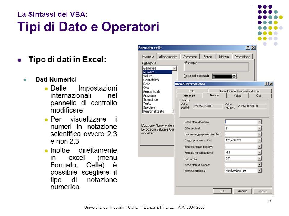 Università dell'Insubria - C.d.L. in Banca & Finanza - A.A. 2004-2005 27 La Sintassi del VBA: Tipi di Dato e Operatori Tipo di dati in Excel: Dati Num