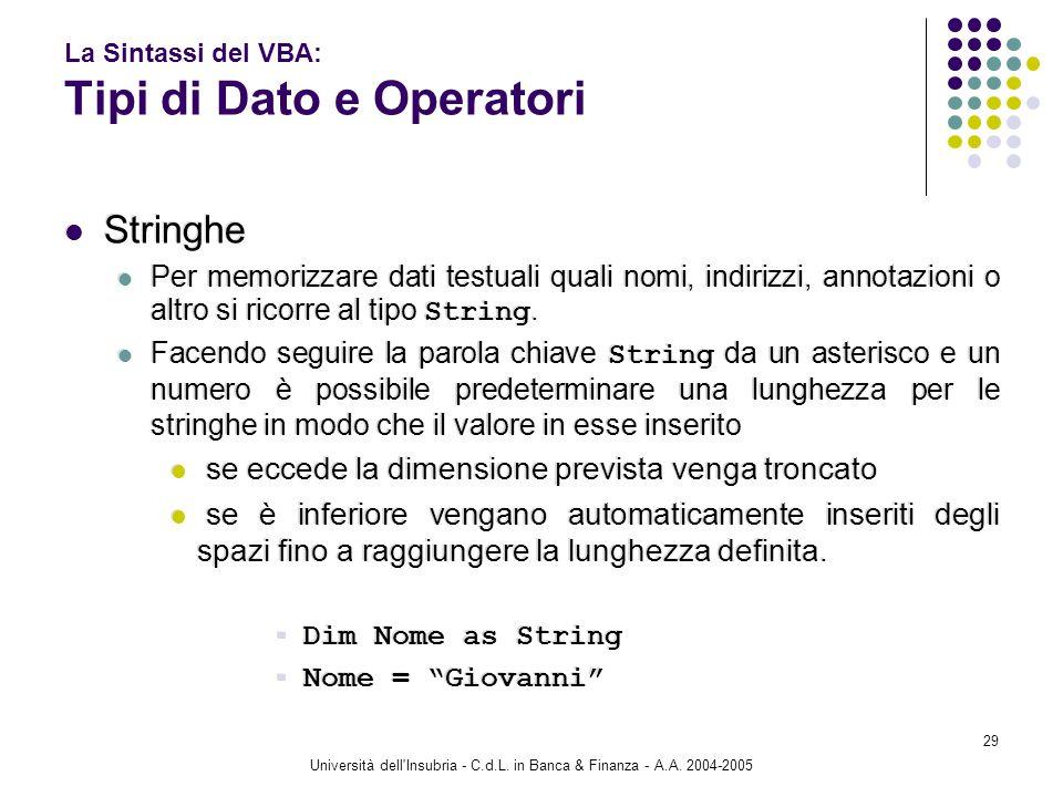 Università dell'Insubria - C.d.L. in Banca & Finanza - A.A. 2004-2005 29 La Sintassi del VBA: Tipi di Dato e Operatori Stringhe Per memorizzare dati t