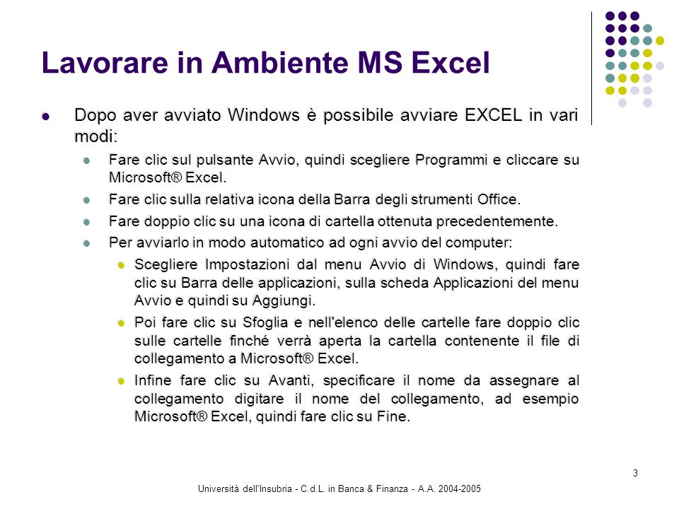 Università dell'Insubria - C.d.L. in Banca & Finanza - A.A. 2004-2005 3 Lavorare in Ambiente MS Excel Dopo aver avviato Windows è possibile avviare EX