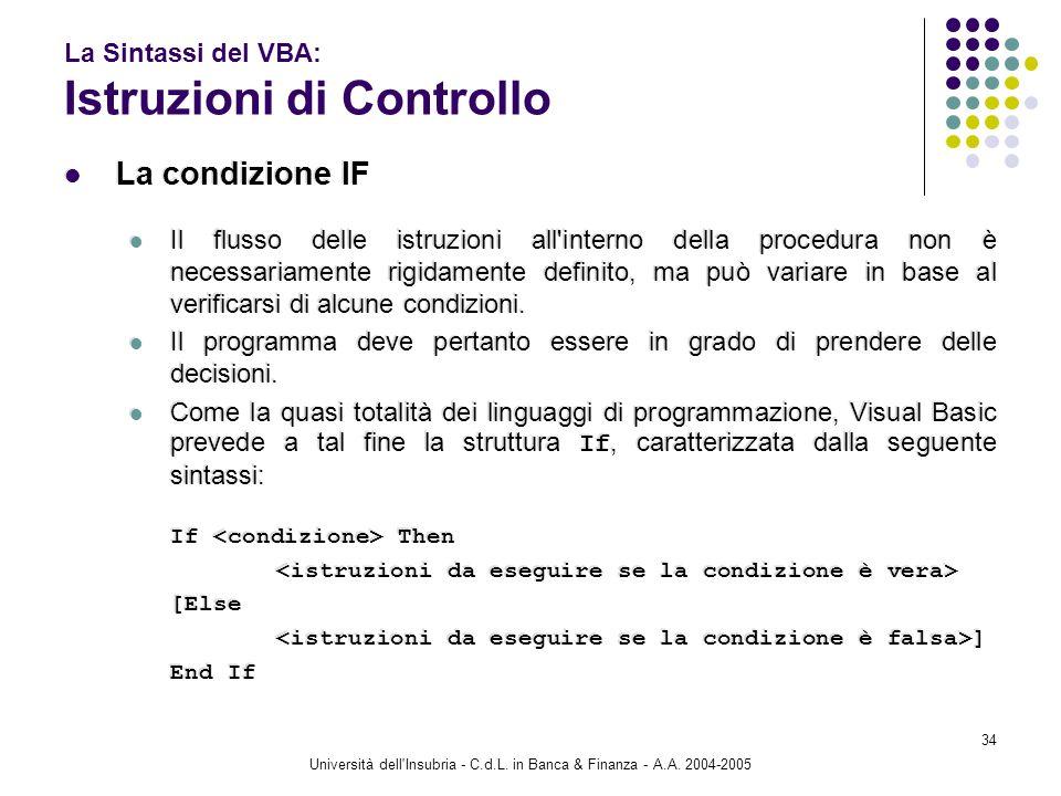 Università dell'Insubria - C.d.L. in Banca & Finanza - A.A. 2004-2005 34 La Sintassi del VBA: Istruzioni di Controllo La condizione IF Il flusso delle