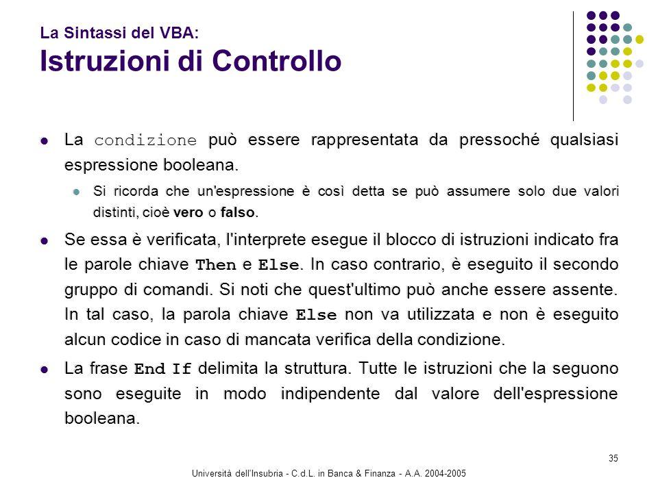Università dell'Insubria - C.d.L. in Banca & Finanza - A.A. 2004-2005 35 La Sintassi del VBA: Istruzioni di Controllo La condizione può essere rappres