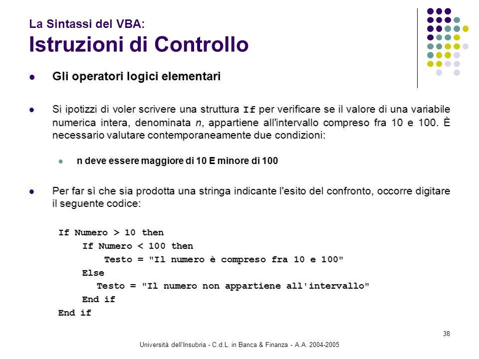 Università dell'Insubria - C.d.L. in Banca & Finanza - A.A. 2004-2005 38 La Sintassi del VBA: Istruzioni di Controllo Gli operatori logici elementari