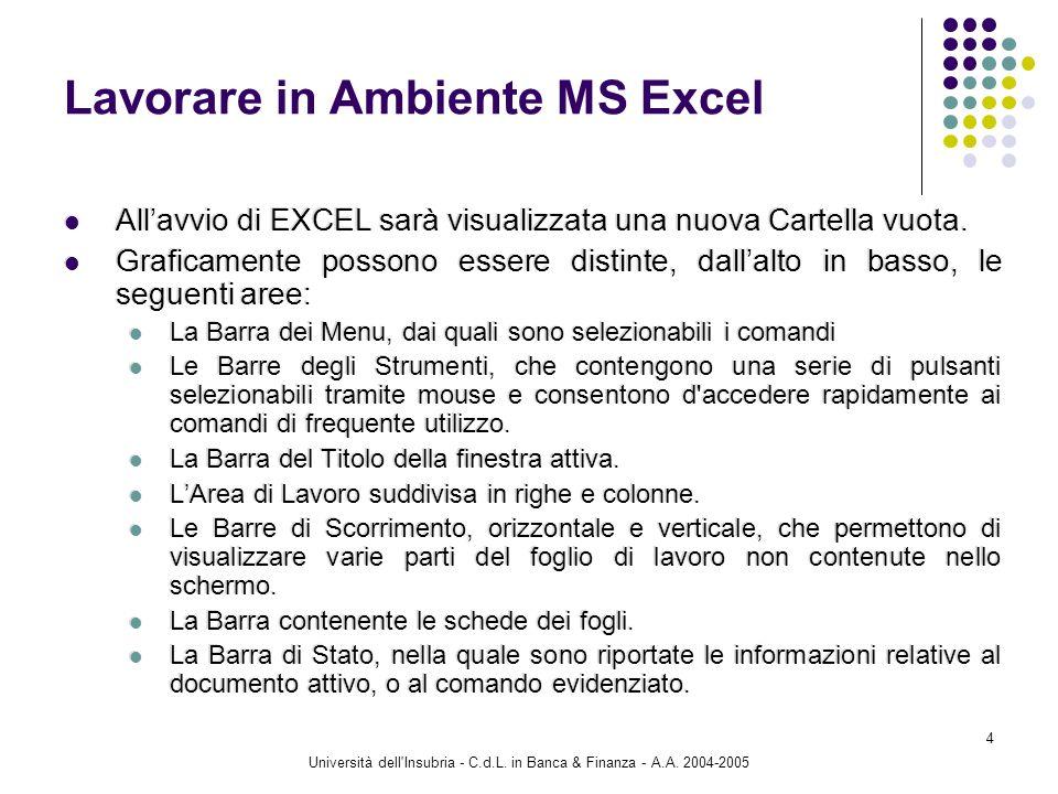 Università dell'Insubria - C.d.L. in Banca & Finanza - A.A. 2004-2005 4 Lavorare in Ambiente MS Excel Allavvio di EXCEL sarà visualizzata una nuova Ca