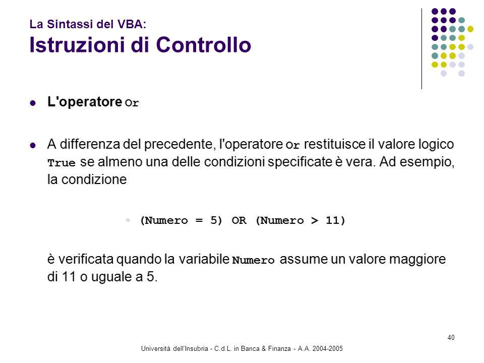 Università dell'Insubria - C.d.L. in Banca & Finanza - A.A. 2004-2005 40 La Sintassi del VBA: Istruzioni di Controllo L'operatore Or A differenza del