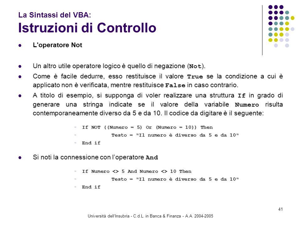 Università dell'Insubria - C.d.L. in Banca & Finanza - A.A. 2004-2005 41 La Sintassi del VBA: Istruzioni di Controllo L'operatore Not Un altro utile o