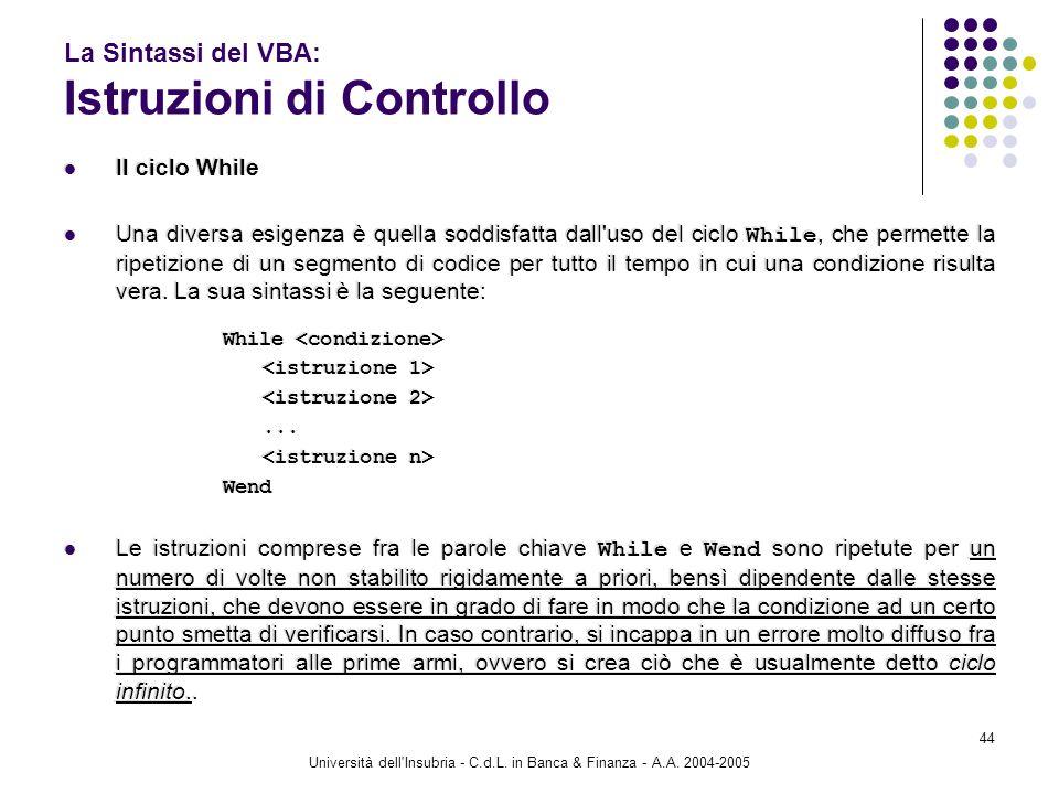 Università dell'Insubria - C.d.L. in Banca & Finanza - A.A. 2004-2005 44 La Sintassi del VBA: Istruzioni di Controllo Il ciclo While Una diversa esige