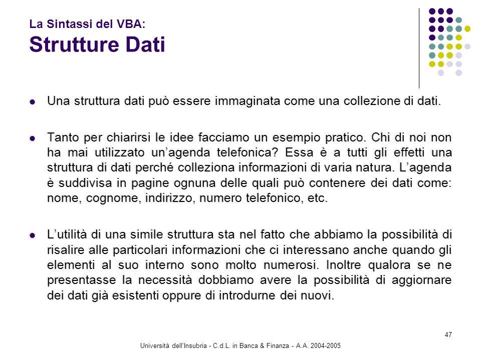 Università dell'Insubria - C.d.L. in Banca & Finanza - A.A. 2004-2005 47 La Sintassi del VBA: Strutture Dati Una struttura dati può essere immaginata
