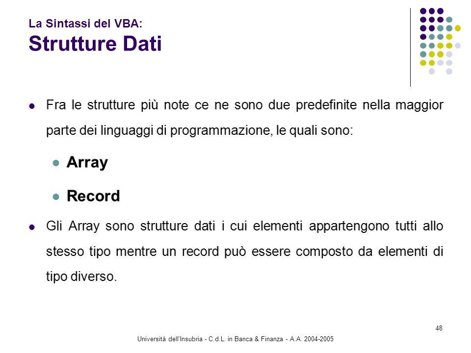 Università dell'Insubria - C.d.L. in Banca & Finanza - A.A. 2004-2005 48 La Sintassi del VBA: Strutture Dati Fra le strutture più note ce ne sono due