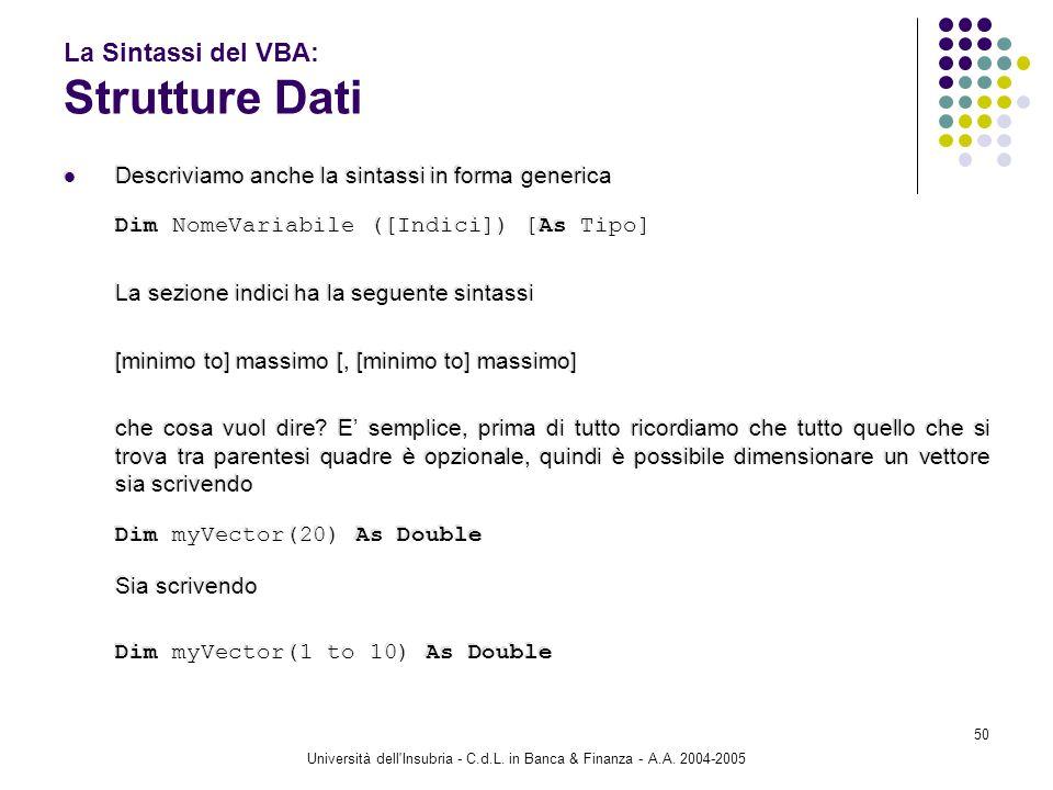 Università dell'Insubria - C.d.L. in Banca & Finanza - A.A. 2004-2005 50 La Sintassi del VBA: Strutture Dati Descriviamo anche la sintassi in forma ge