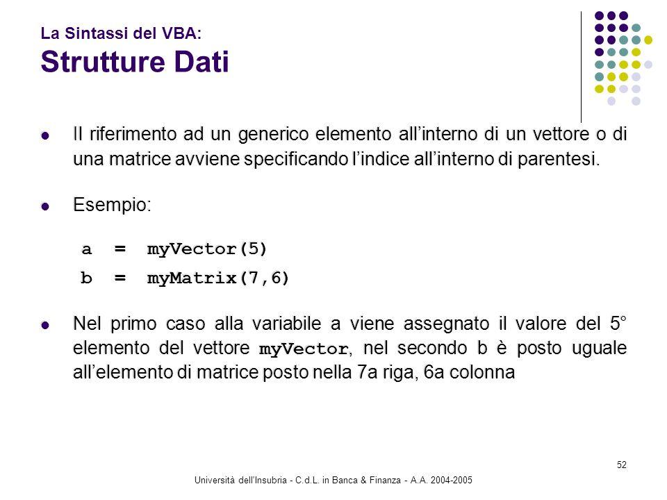 Università dell'Insubria - C.d.L. in Banca & Finanza - A.A. 2004-2005 52 La Sintassi del VBA: Strutture Dati Il riferimento ad un generico elemento al