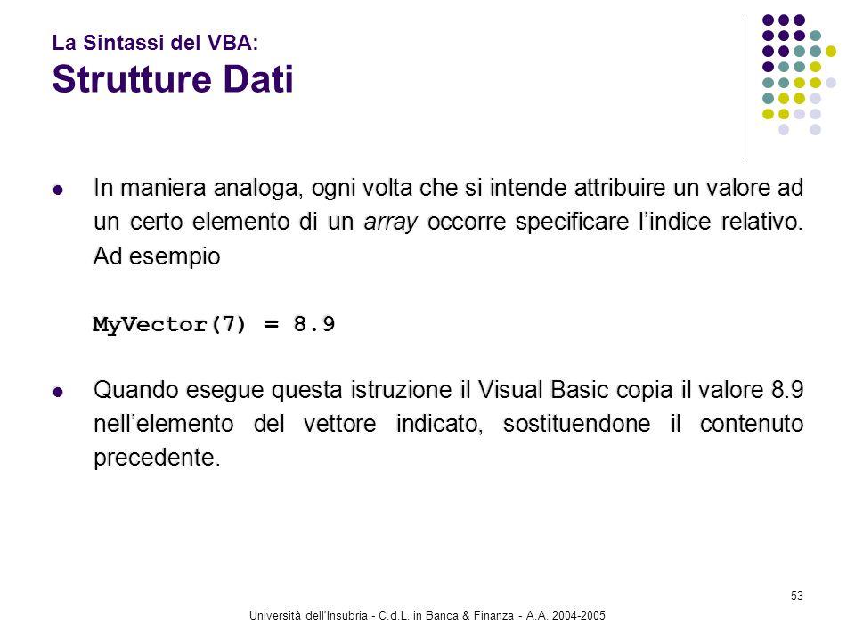 Università dell'Insubria - C.d.L. in Banca & Finanza - A.A. 2004-2005 53 La Sintassi del VBA: Strutture Dati In maniera analoga, ogni volta che si int