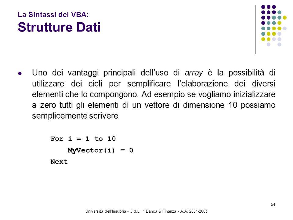 Università dell'Insubria - C.d.L. in Banca & Finanza - A.A. 2004-2005 54 La Sintassi del VBA: Strutture Dati Uno dei vantaggi principali delluso di ar
