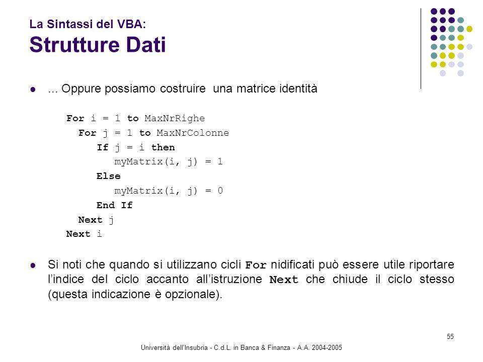 Università dell'Insubria - C.d.L. in Banca & Finanza - A.A. 2004-2005 55 La Sintassi del VBA: Strutture Dati... Oppure possiamo costruire una matrice