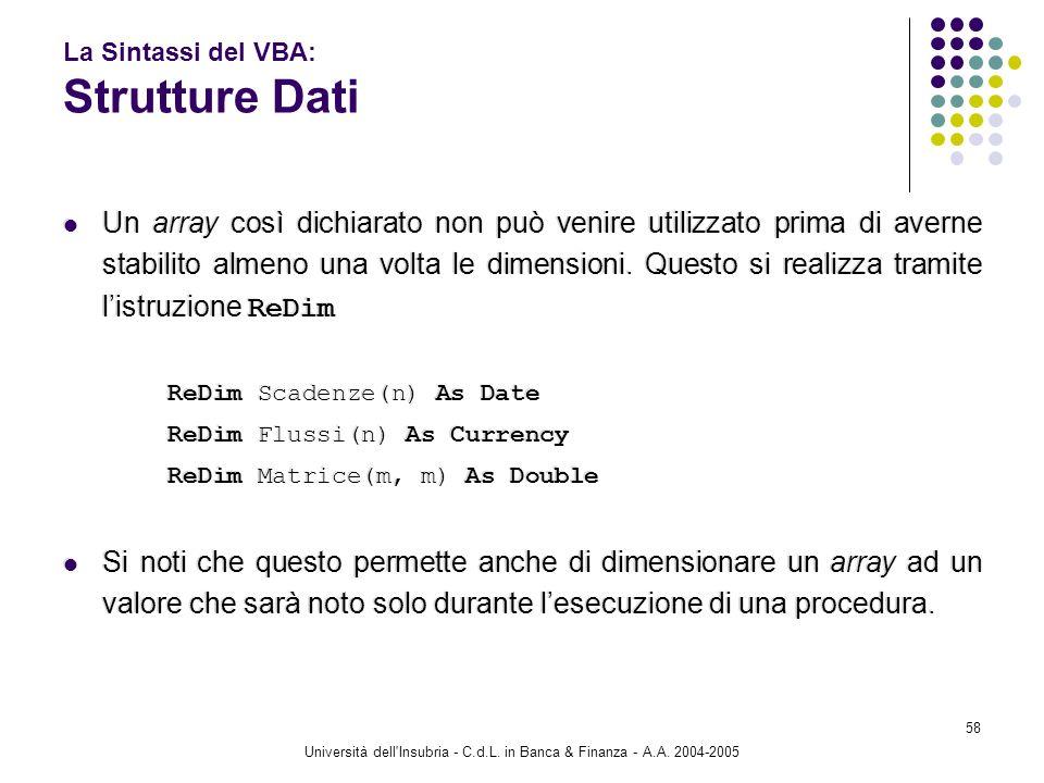 Università dell'Insubria - C.d.L. in Banca & Finanza - A.A. 2004-2005 58 La Sintassi del VBA: Strutture Dati Un array così dichiarato non può venire u
