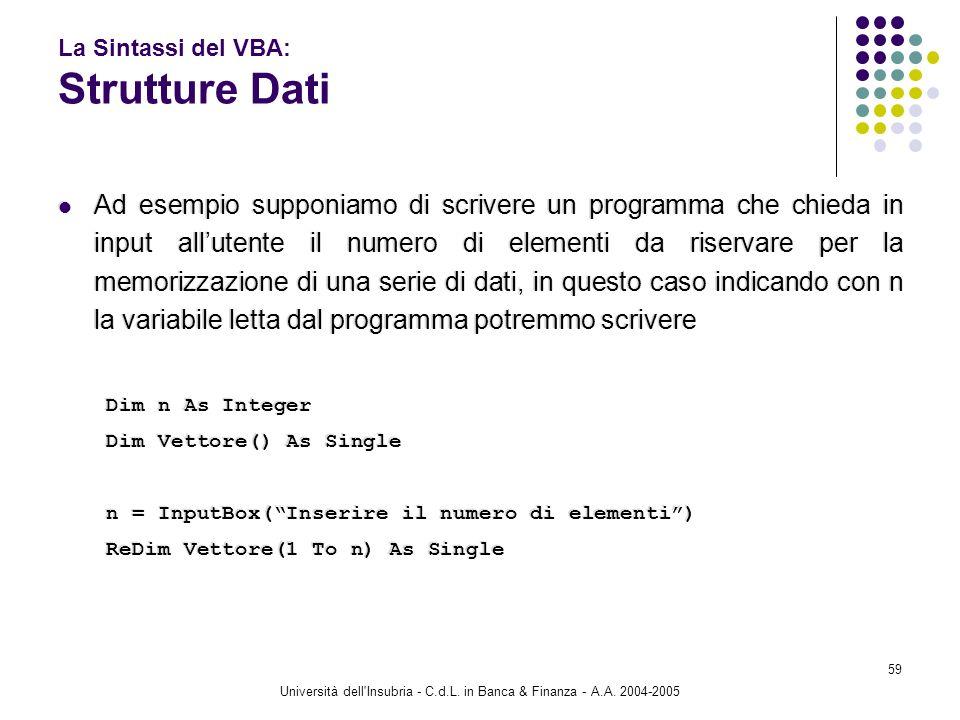 Università dell'Insubria - C.d.L. in Banca & Finanza - A.A. 2004-2005 59 La Sintassi del VBA: Strutture Dati Ad esempio supponiamo di scrivere un prog