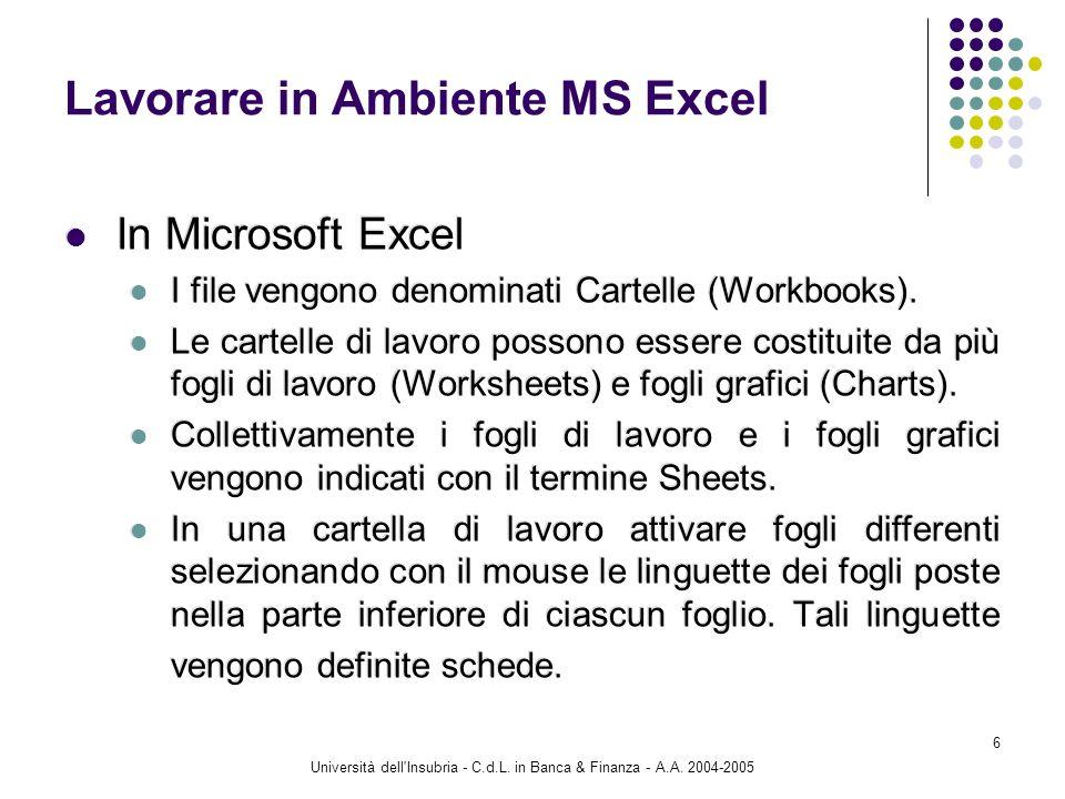 Università dell'Insubria - C.d.L. in Banca & Finanza - A.A. 2004-2005 6 Lavorare in Ambiente MS Excel In Microsoft Excel I file vengono denominati Car