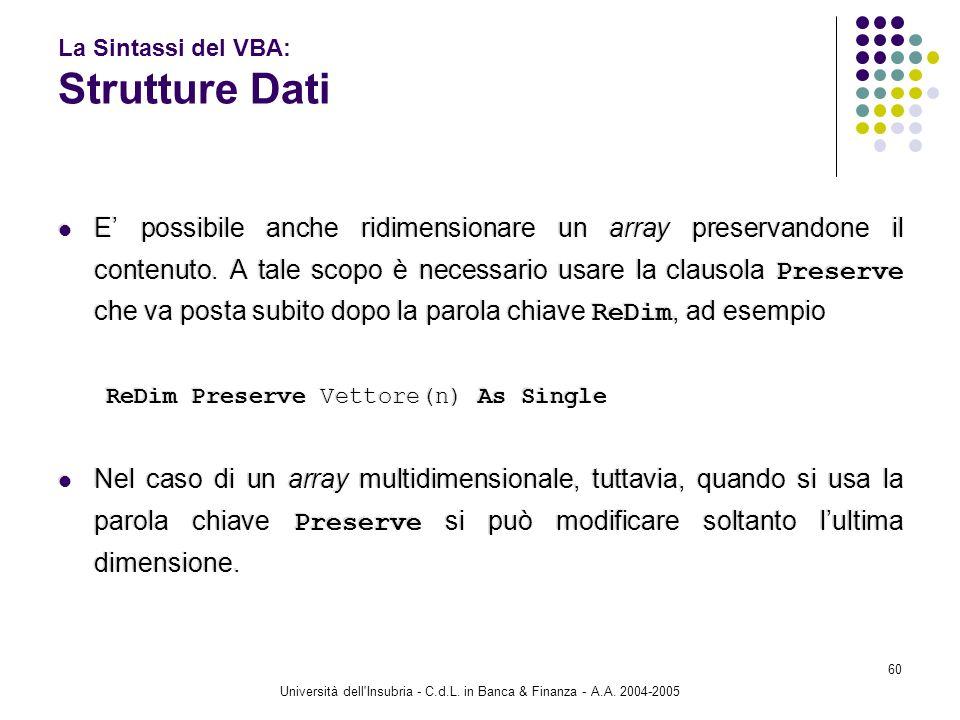 Università dell'Insubria - C.d.L. in Banca & Finanza - A.A. 2004-2005 60 La Sintassi del VBA: Strutture Dati E possibile anche ridimensionare un array