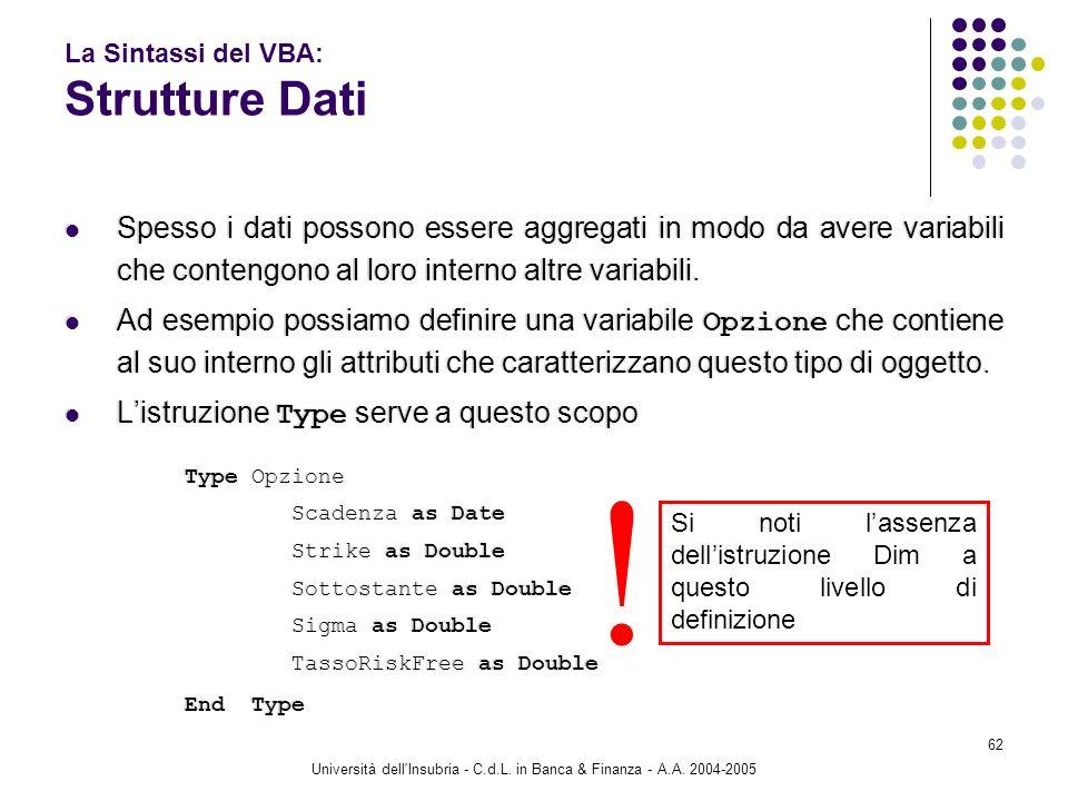 Università dell'Insubria - C.d.L. in Banca & Finanza - A.A. 2004-2005 62 La Sintassi del VBA: Strutture Dati Spesso i dati possono essere aggregati in