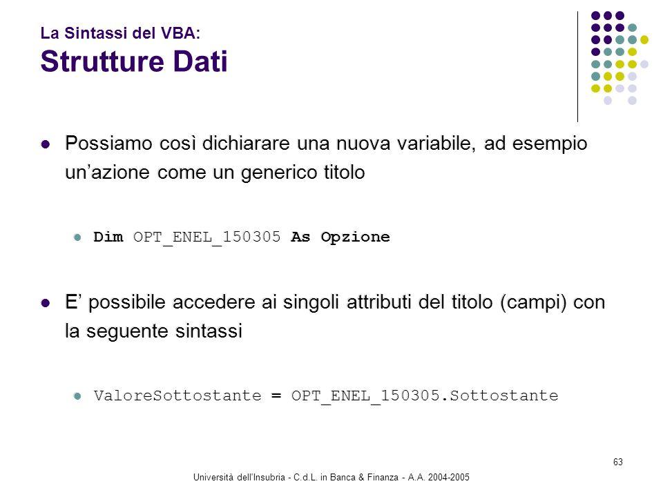 Università dell'Insubria - C.d.L. in Banca & Finanza - A.A. 2004-2005 63 La Sintassi del VBA: Strutture Dati Possiamo così dichiarare una nuova variab