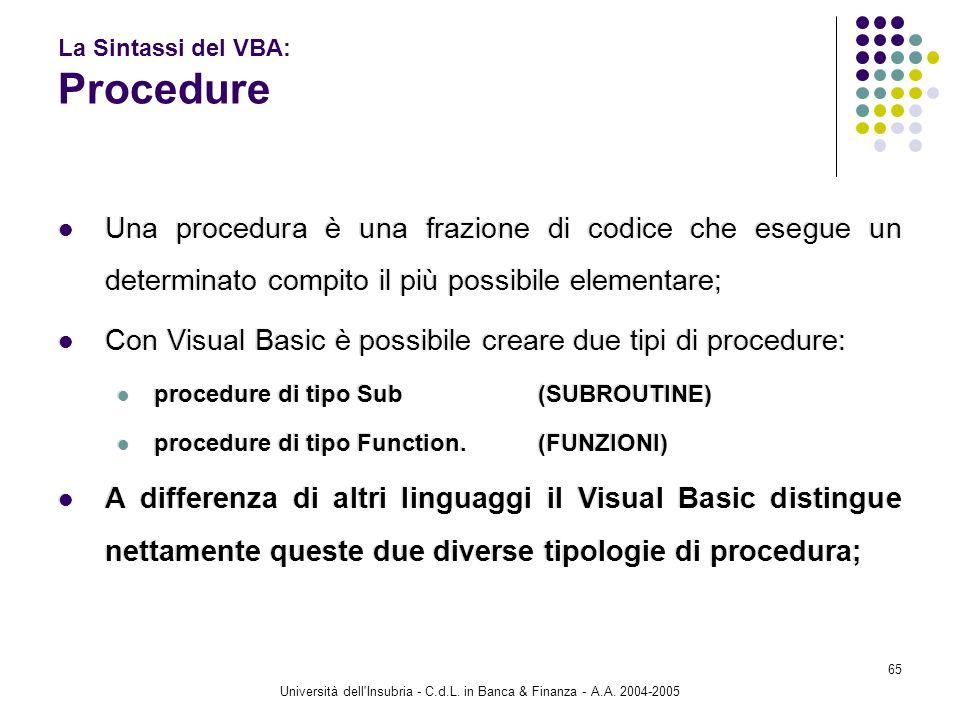 Università dell'Insubria - C.d.L. in Banca & Finanza - A.A. 2004-2005 65 La Sintassi del VBA: Procedure Una procedura è una frazione di codice che ese