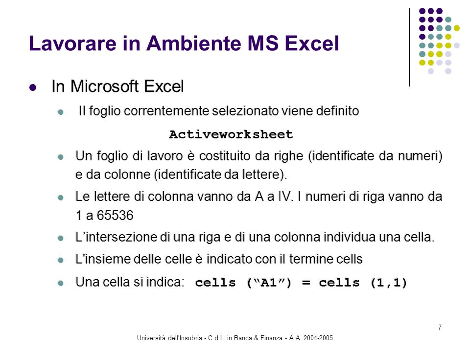 Università dell'Insubria - C.d.L. in Banca & Finanza - A.A. 2004-2005 7 Lavorare in Ambiente MS Excel In Microsoft Excel Il foglio correntemente selez