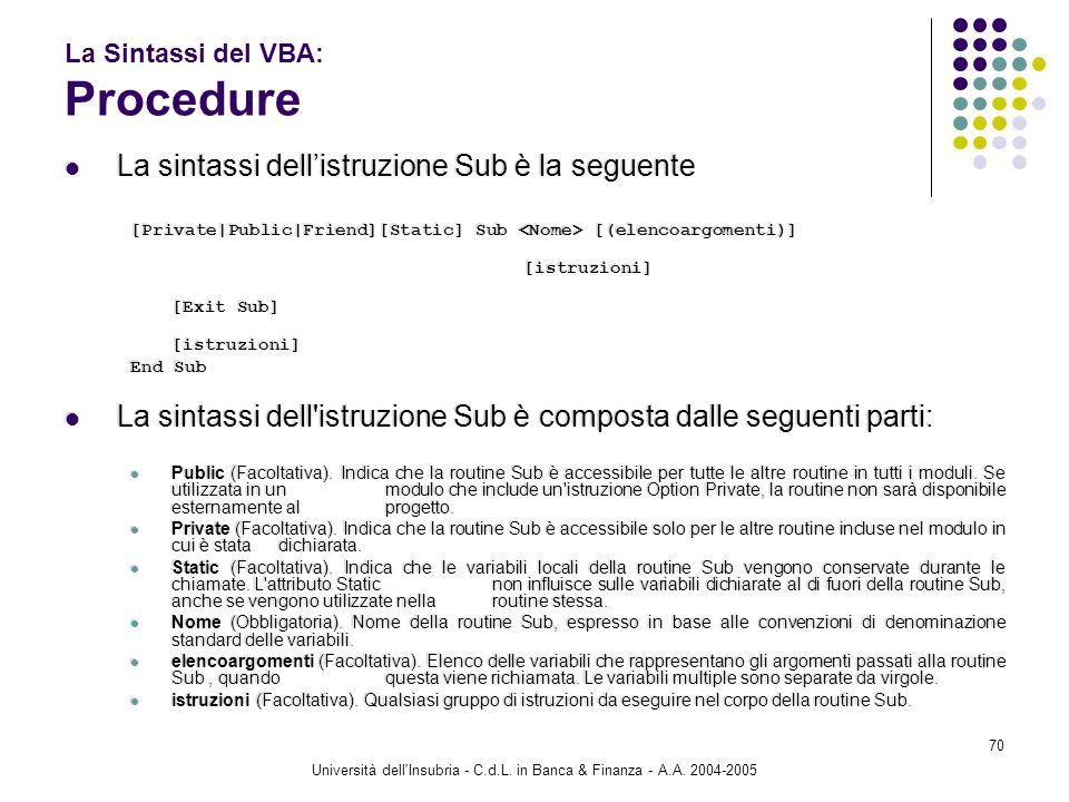 Università dell'Insubria - C.d.L. in Banca & Finanza - A.A. 2004-2005 70 La Sintassi del VBA: Procedure La sintassi dellistruzione Sub è la seguente [