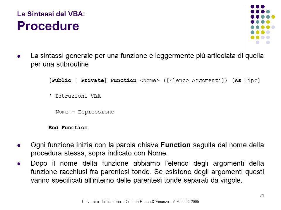 Università dell'Insubria - C.d.L. in Banca & Finanza - A.A. 2004-2005 71 La Sintassi del VBA: Procedure La sintassi generale per una funzione è legger