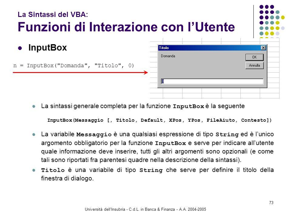 Università dell'Insubria - C.d.L. in Banca & Finanza - A.A. 2004-2005 73 La Sintassi del VBA: Funzioni di Interazione con lUtente InputBox La sintassi