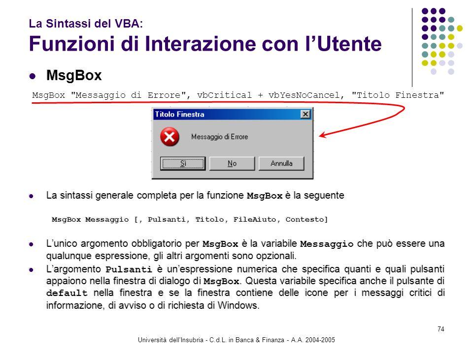 Università dell'Insubria - C.d.L. in Banca & Finanza - A.A. 2004-2005 74 La Sintassi del VBA: Funzioni di Interazione con lUtente MsgBox La sintassi g