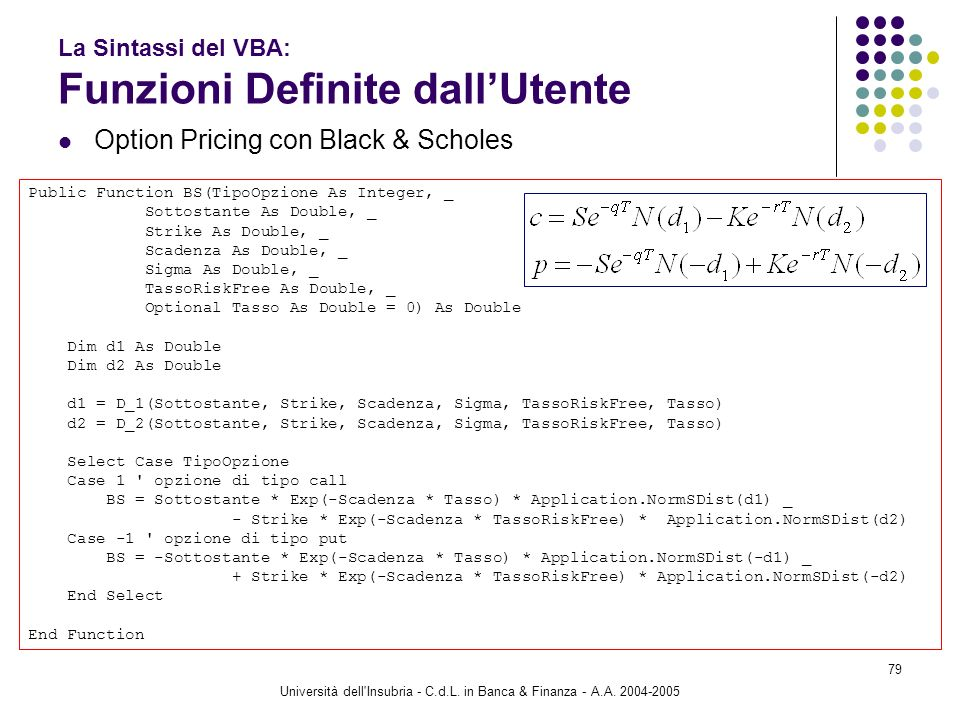 Università dell'Insubria - C.d.L. in Banca & Finanza - A.A. 2004-2005 79 La Sintassi del VBA: Funzioni Definite dallUtente Option Pricing con Black &