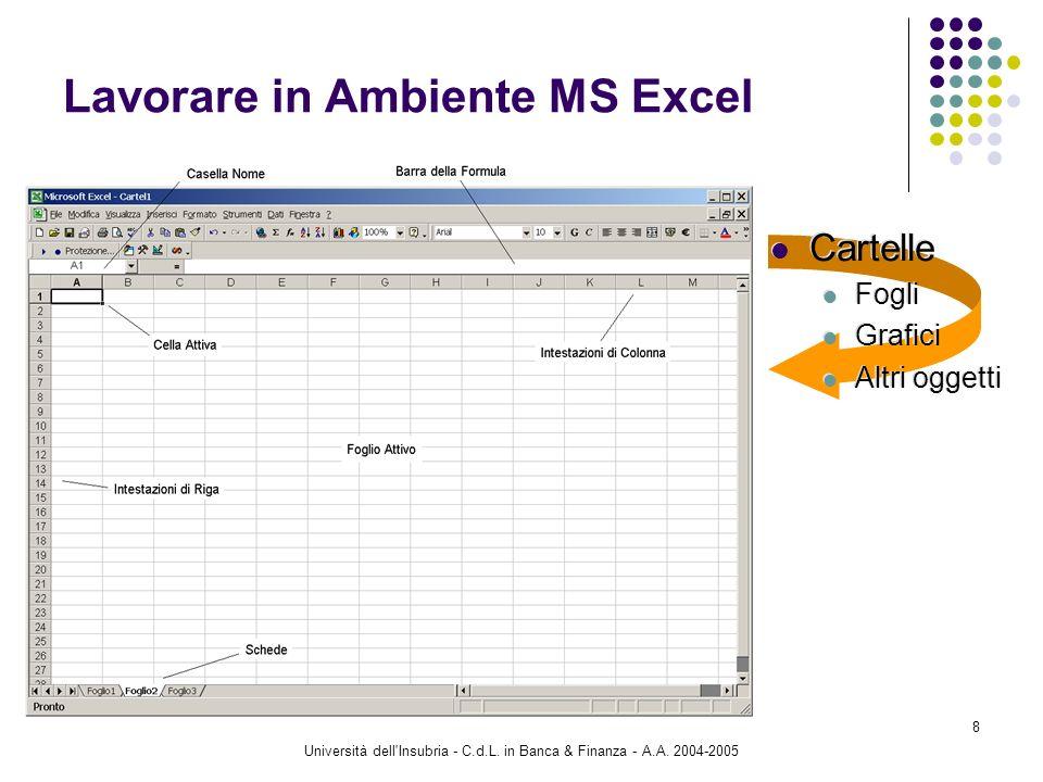Università dell'Insubria - C.d.L. in Banca & Finanza - A.A. 2004-2005 8 Lavorare in Ambiente MS Excel Cartelle Fogli Grafici Altri oggetti Cartelle Fo