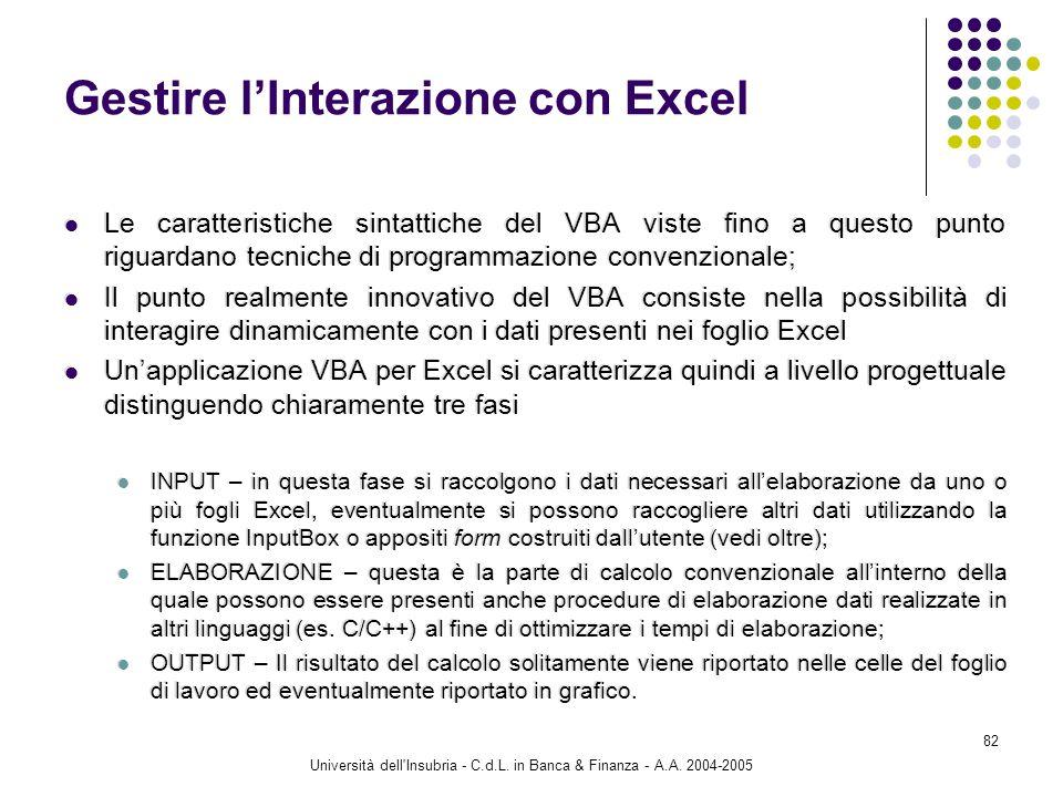 Università dell'Insubria - C.d.L. in Banca & Finanza - A.A. 2004-2005 82 Gestire lInterazione con Excel Le caratteristiche sintattiche del VBA viste f