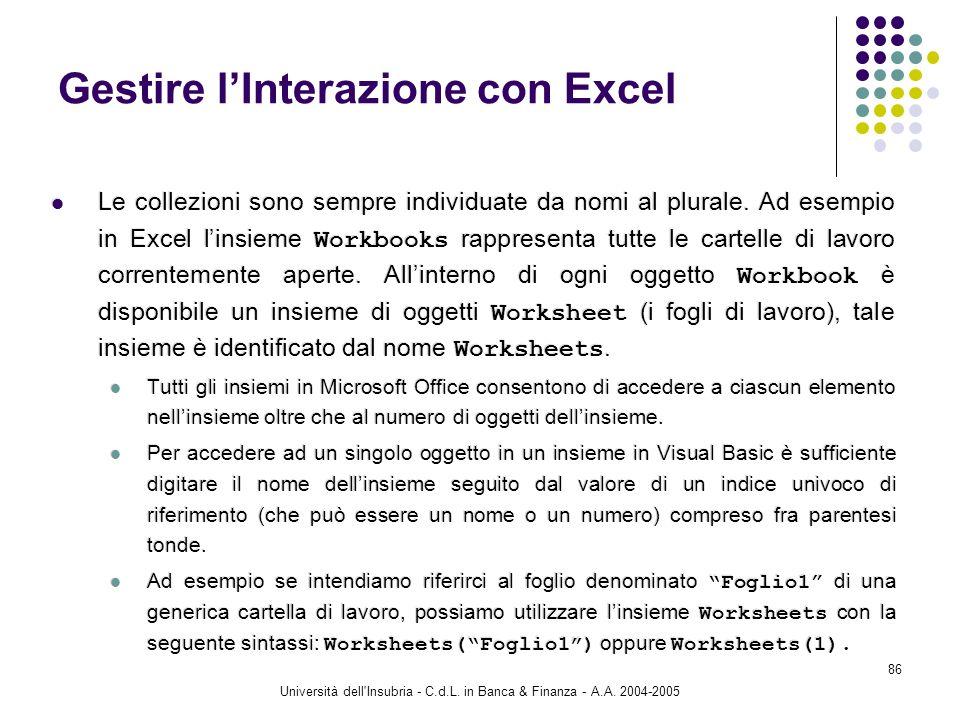 Università dell'Insubria - C.d.L. in Banca & Finanza - A.A. 2004-2005 86 Gestire lInterazione con Excel Le collezioni sono sempre individuate da nomi