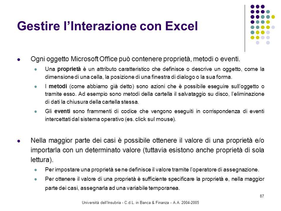 Università dell'Insubria - C.d.L. in Banca & Finanza - A.A. 2004-2005 87 Gestire lInterazione con Excel Ogni oggetto Microsoft Office può contenere pr