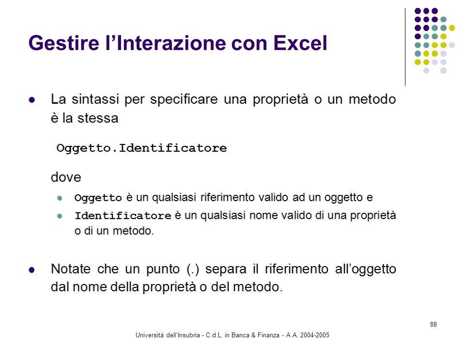 Università dell'Insubria - C.d.L. in Banca & Finanza - A.A. 2004-2005 88 Gestire lInterazione con Excel La sintassi per specificare una proprietà o un