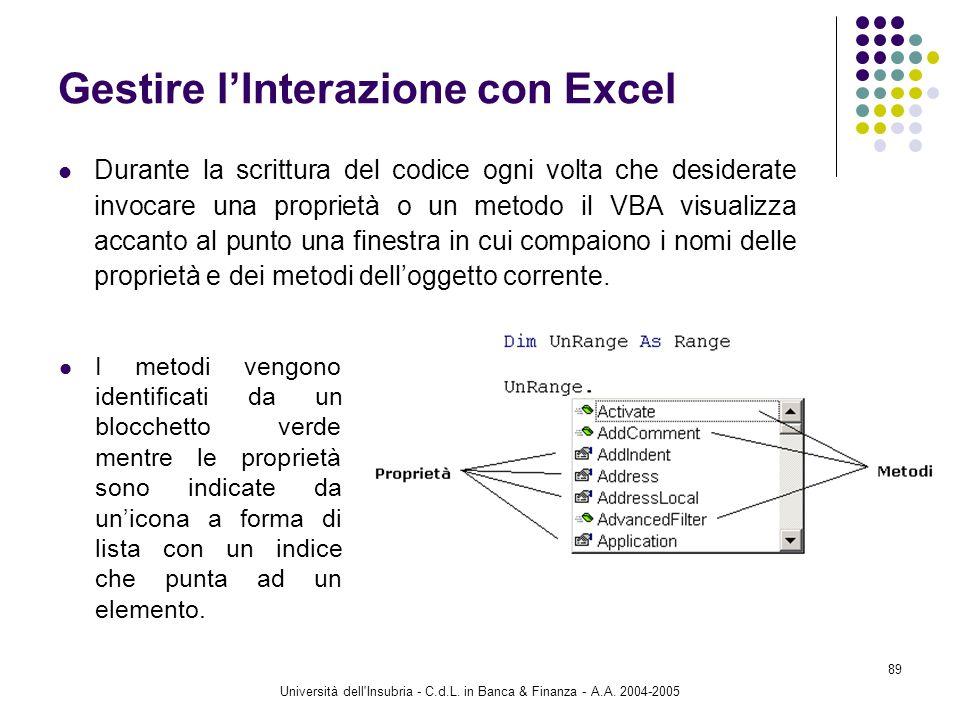 Università dell'Insubria - C.d.L. in Banca & Finanza - A.A. 2004-2005 89 Gestire lInterazione con Excel Durante la scrittura del codice ogni volta che