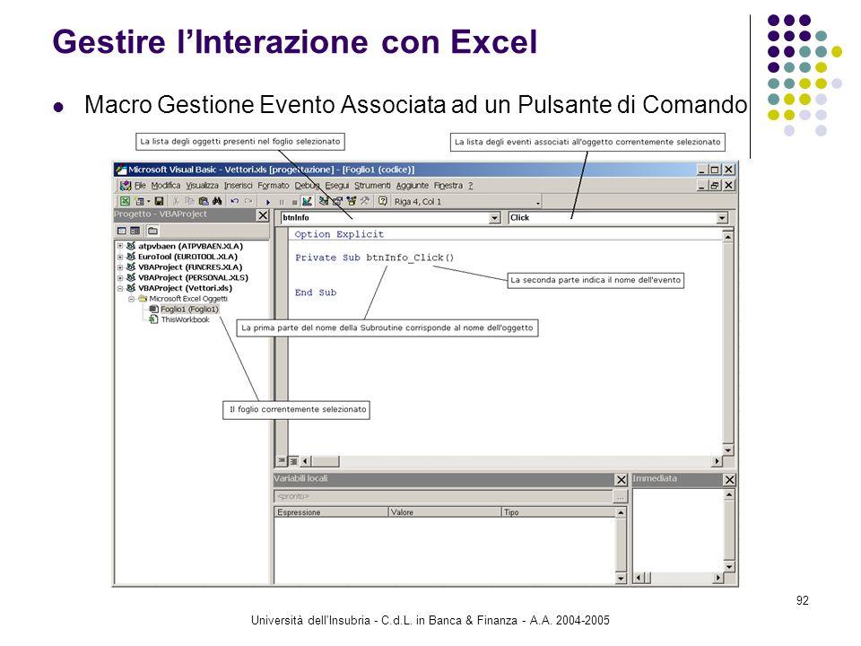 Università dell'Insubria - C.d.L. in Banca & Finanza - A.A. 2004-2005 92 Gestire lInterazione con Excel Macro Gestione Evento Associata ad un Pulsante