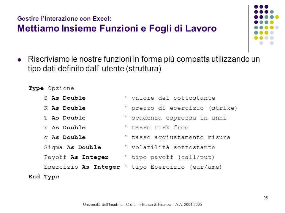 Università dell'Insubria - C.d.L. in Banca & Finanza - A.A. 2004-2005 95 Gestire lInterazione con Excel: Mettiamo Insieme Funzioni e Fogli di Lavoro R