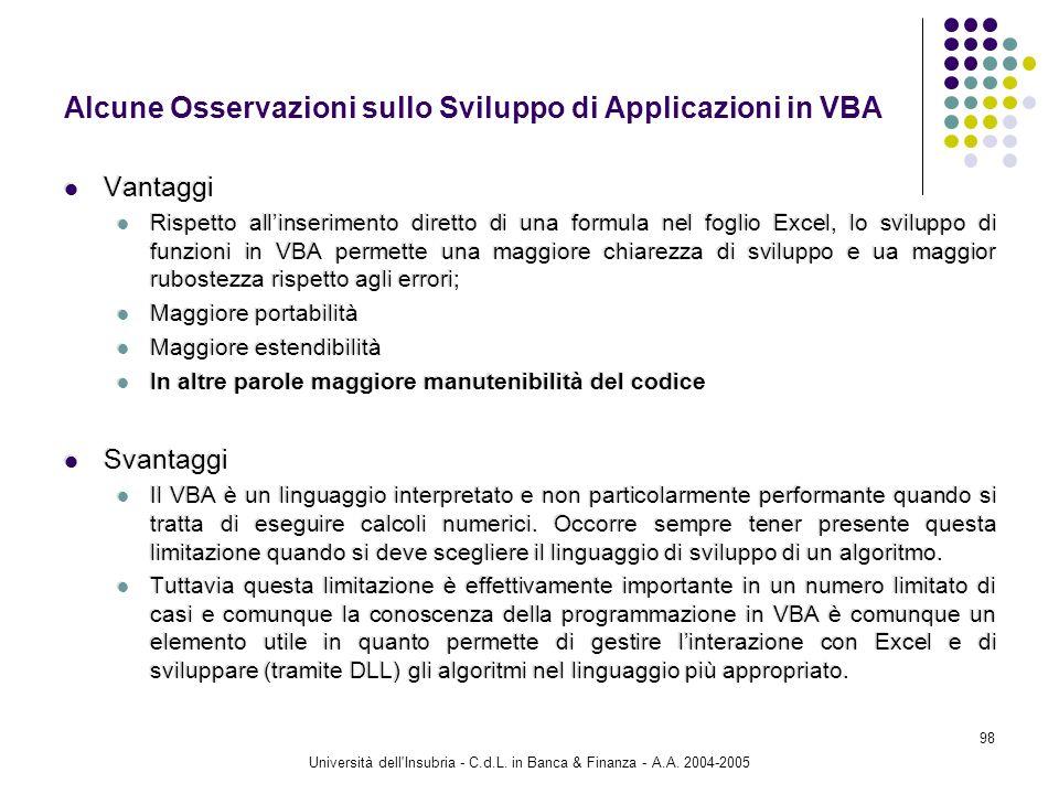 Università dell'Insubria - C.d.L. in Banca & Finanza - A.A. 2004-2005 98 Alcune Osservazioni sullo Sviluppo di Applicazioni in VBA Vantaggi Rispetto a