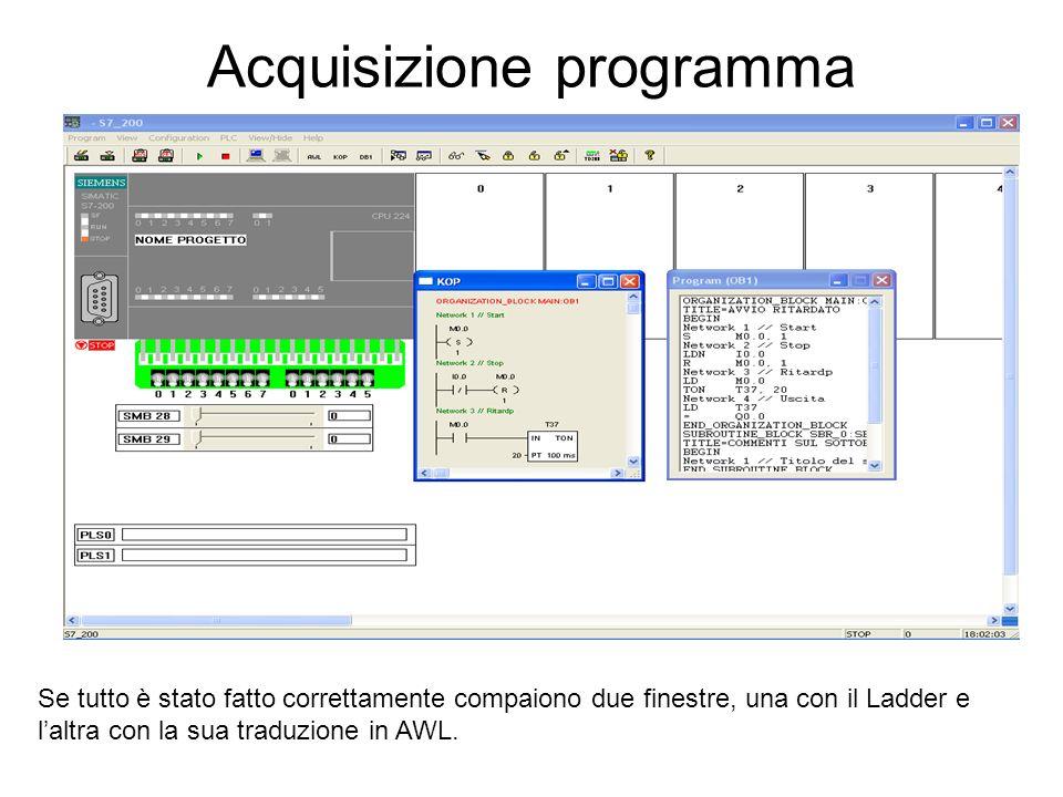 Acquisizione programma Se tutto è stato fatto correttamente compaiono due finestre, una con il Ladder e laltra con la sua traduzione in AWL.