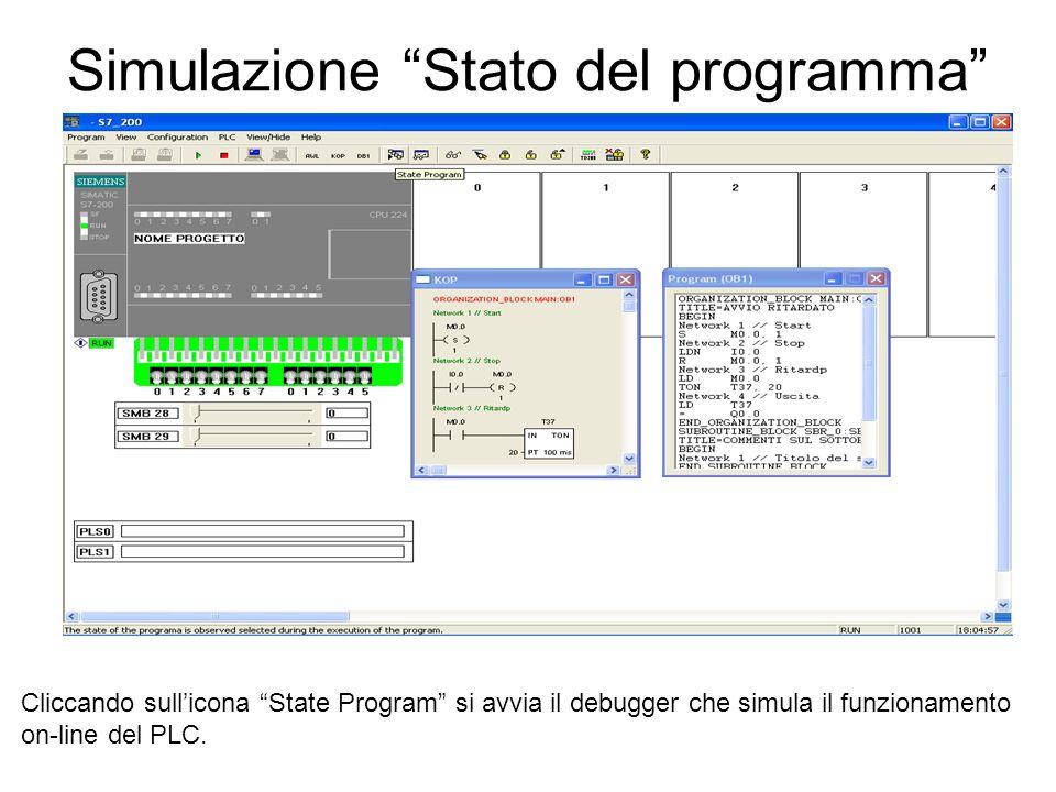 Simulazione Stato del programma Cliccando sullicona State Program si avvia il debugger che simula il funzionamento on-line del PLC.