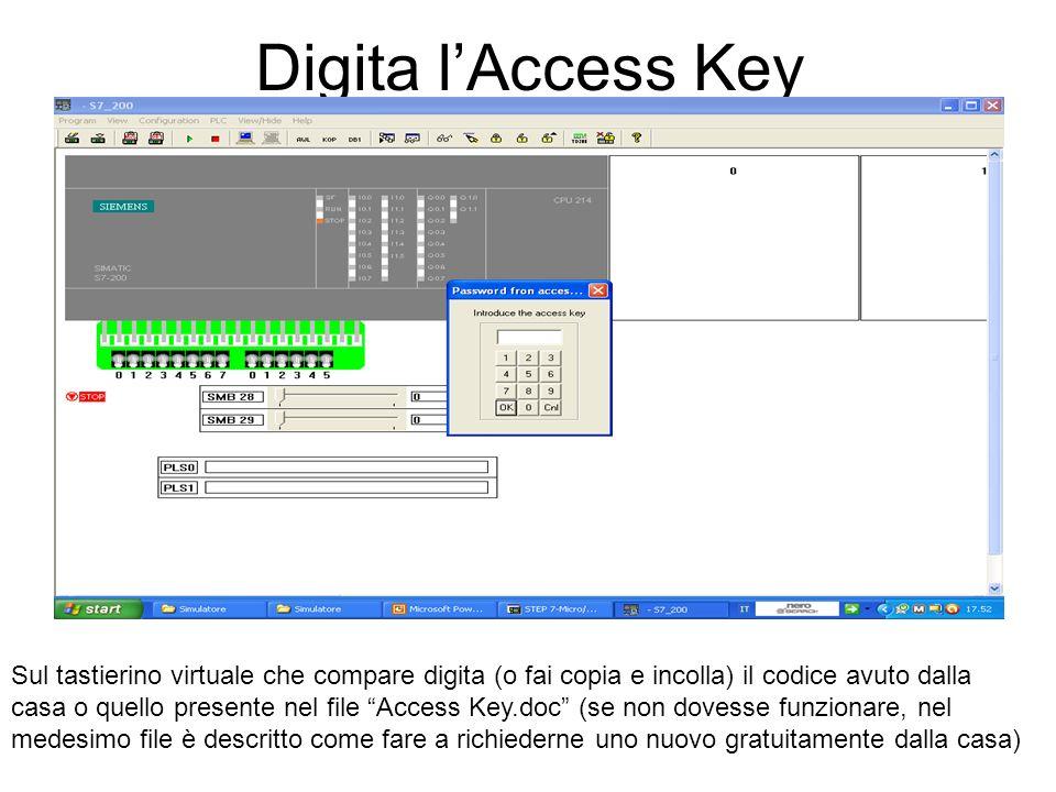 Digita lAccess Key Sul tastierino virtuale che compare digita (o fai copia e incolla) il codice avuto dalla casa o quello presente nel file Access Key