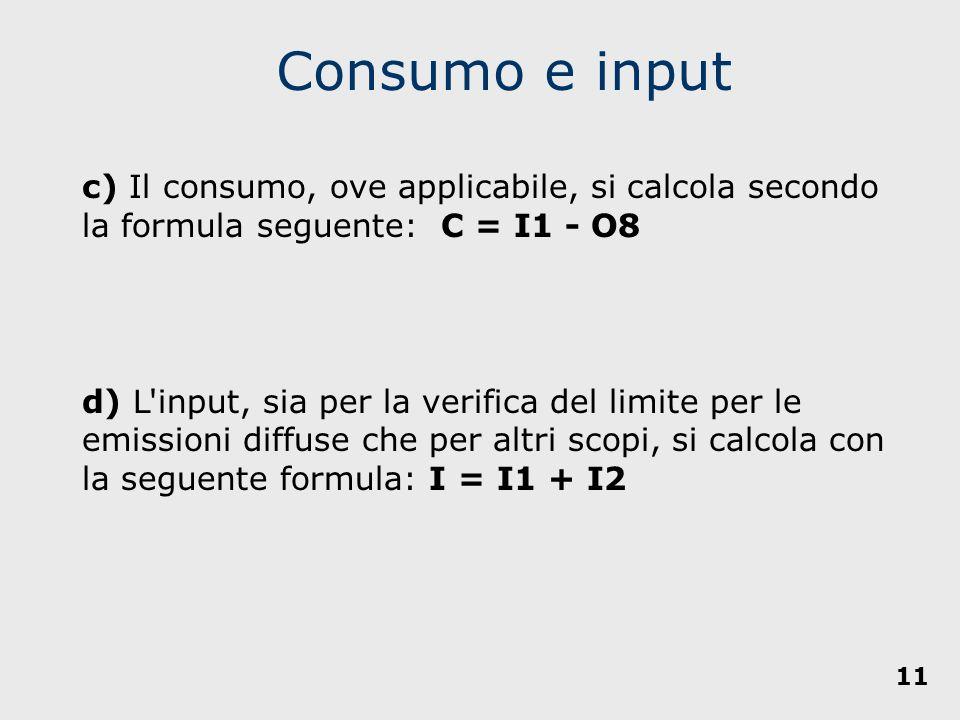 c) Il consumo, ove applicabile, si calcola secondo la formula seguente: C = I1 - O8 d) L'input, sia per la verifica del limite per le emissioni diffus