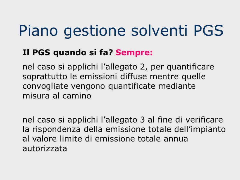 Piano gestione solventi PGS Il PGS quando si fa? Sempre: nel caso si applichi lallegato 2, per quantificare soprattutto le emissioni diffuse mentre qu