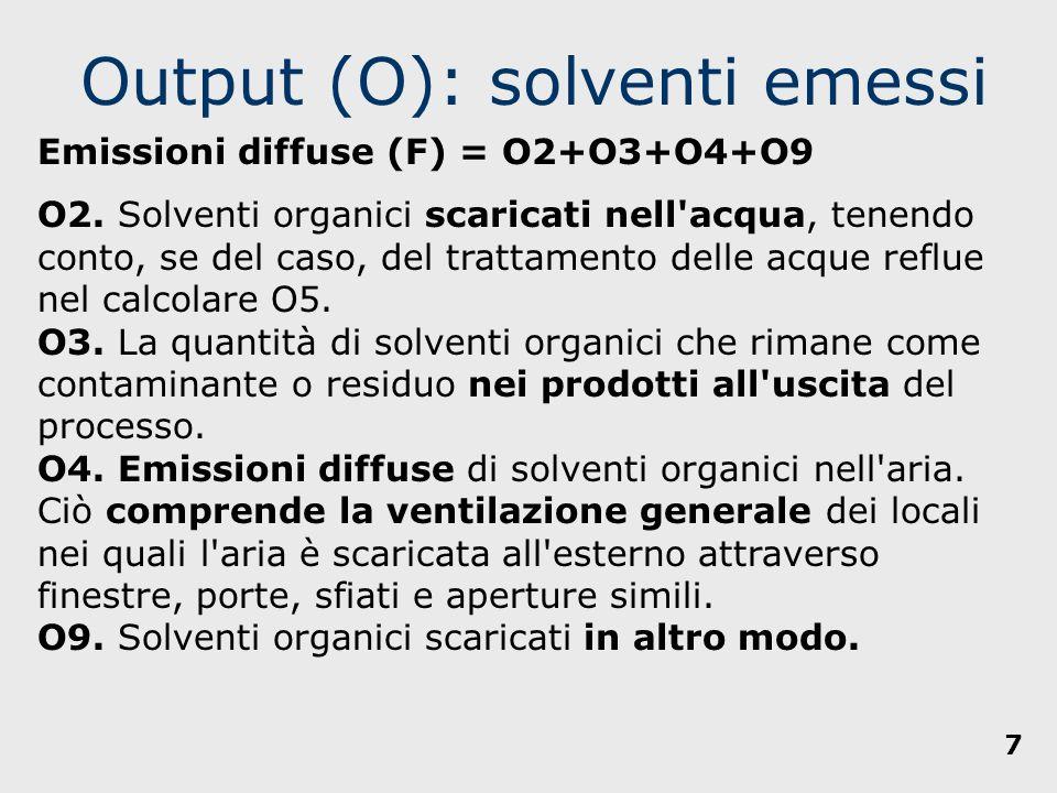 Output (O): solventi NON emessi O5.