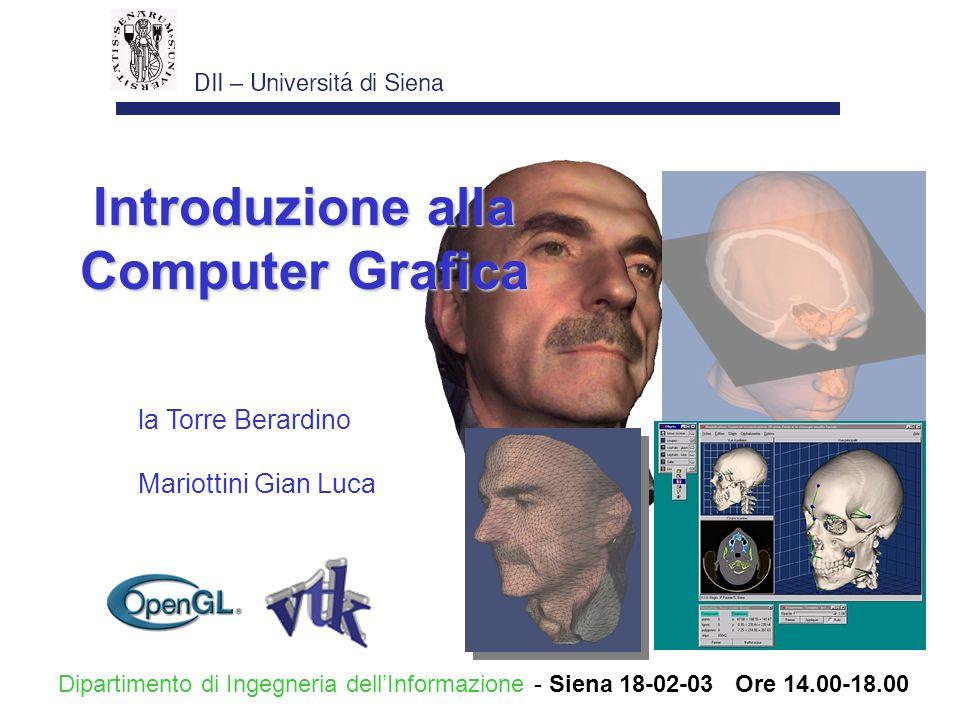 la Torre Berardino Mariottini Gian Luca Introduzione alla Computer Grafica Dipartimento di Ingegneria dellInformazione - Siena 18-02-03 Ore 14.00-18.0